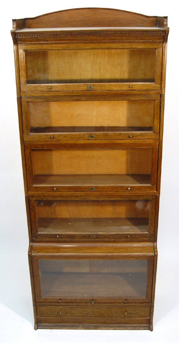 10: 1920s Lebus five section oak bookcase, the dental m