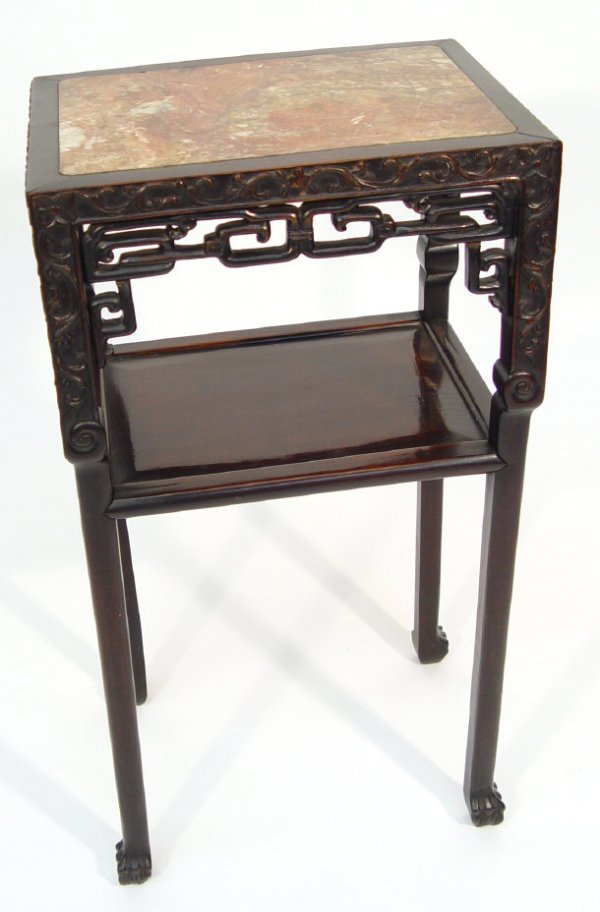 11: Chinese hardwood side table, the pink marble top ab