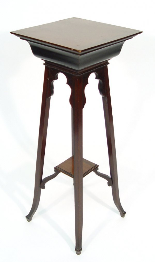 14: Victorian mahogany square plant stand with undertie
