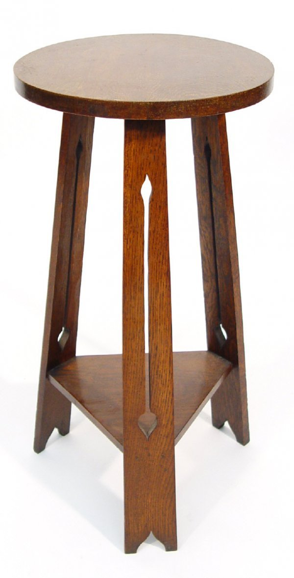 16: Arts and Crafts circular oak plant stand with trian
