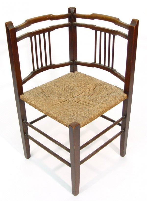17: Arts and Crafts mahogany stickback corner chair wit