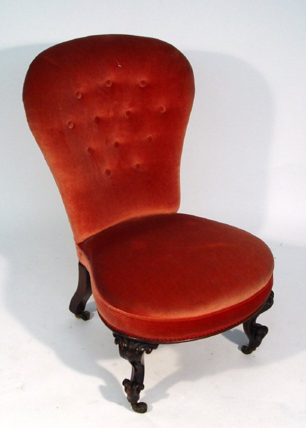 18: Victorian mahogany spoon back bedroom chair with pi
