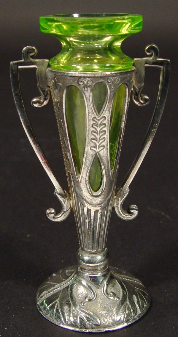 291: Art Nouveau silver plated two-handled vase cast in