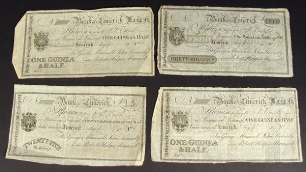 517: Four Bank of Limerick, two of one guinea and a hal