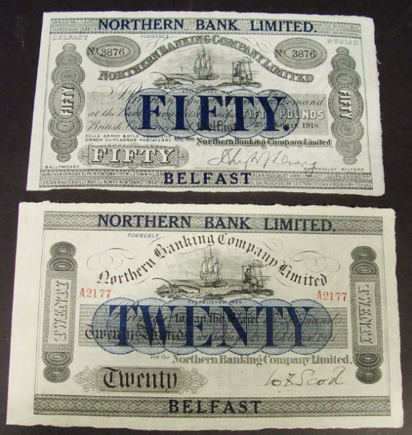 521: Two Northern Banking Co Ltd Ireland  bank notes, o