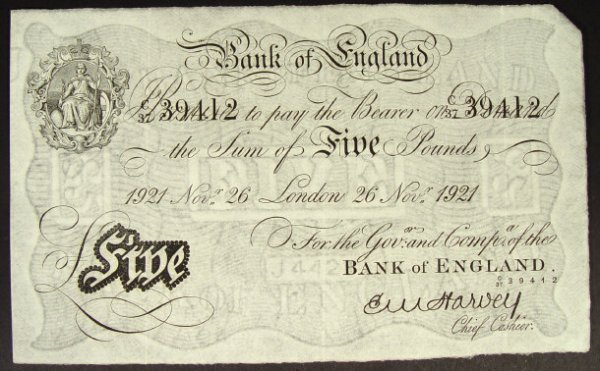 548: Bank of England white five pound note dated 1921,