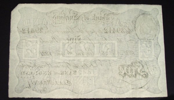 548: Bank of England white five pound note dated 1921,  - 2