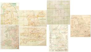 Six 19th century and later linen backed maps including
