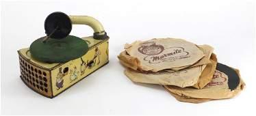 Vintage German tin plate clockwork child's gramophone,