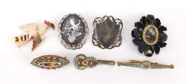 Antique and later jewellery including three micro