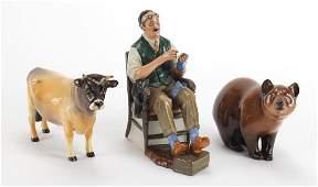 Beswick CH Dunsely Coyboy Bull, Royal Doulton bear and