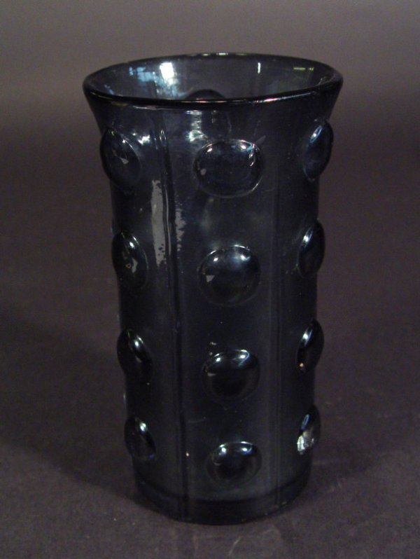 1224: 1970s plum art glass vase with moulded decoration