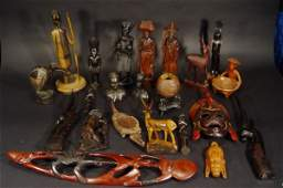 1381: Collection of African and other tribal hardwood f