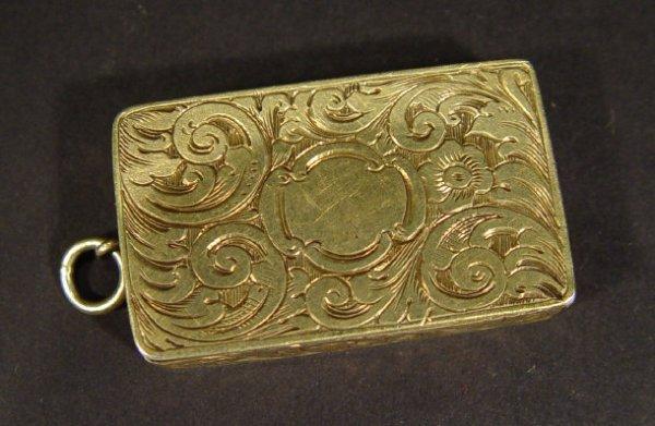 1385: Victorian silver gilt vinaigrette by Nathaniel Mi