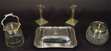 1412 Four silver plated items comprising two cut glass