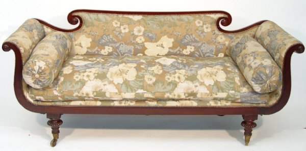 1: Regency design mahogany framed settee with scrolling