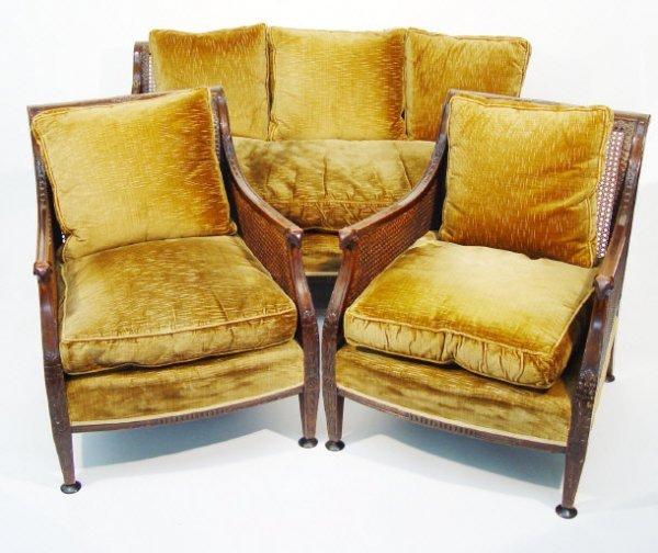 4: Edwardian mahogany framed three piece bergere suite