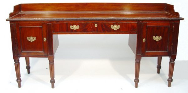 10: Victorian mahogany sideboard, the galleried top abo