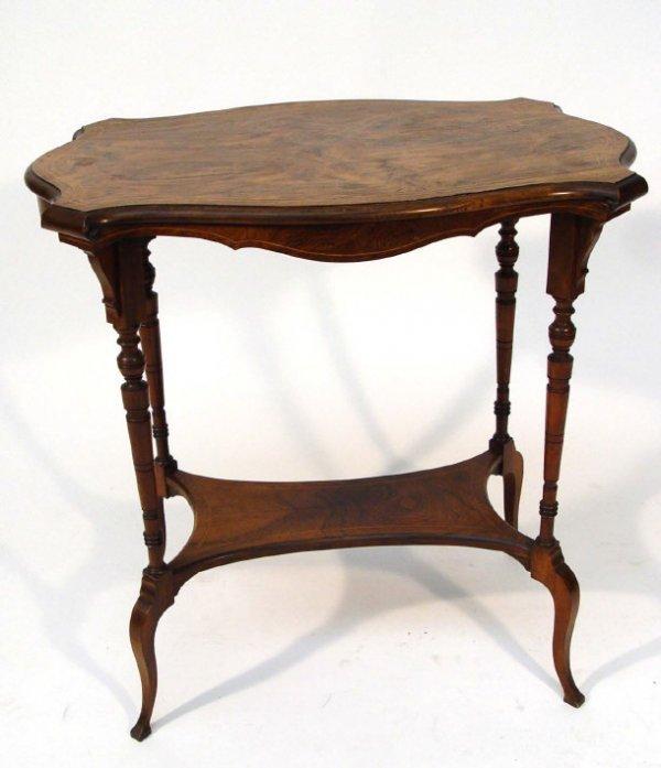 13: Victorian shaped rectangular rosewood occasional ta