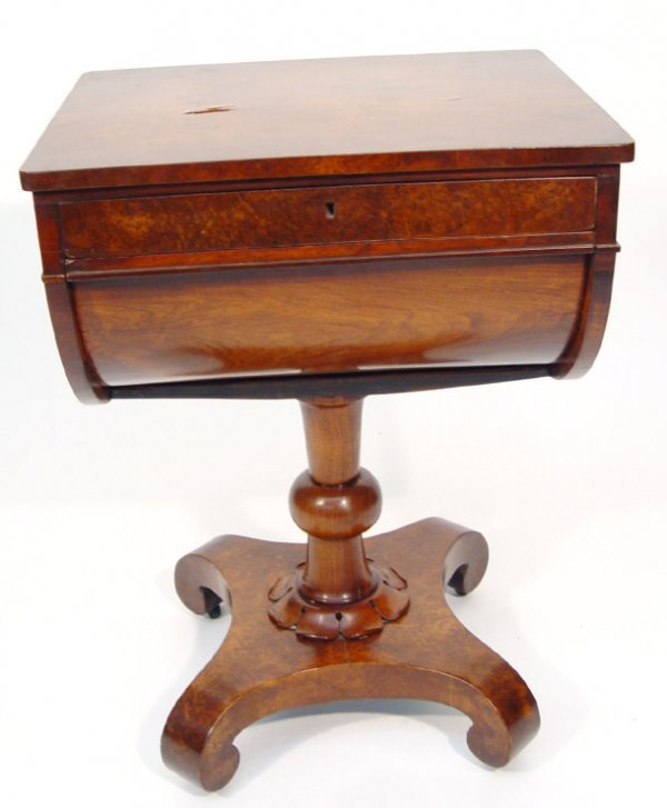 21: Victorian burr walnut workbox fitted with two drawe