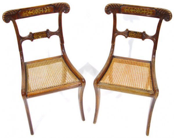 24: Pair of Regency brass inlaid mahogany dining chairs