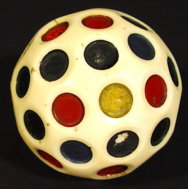 494: Ivory ball set with colourful engraved panels, 7cm