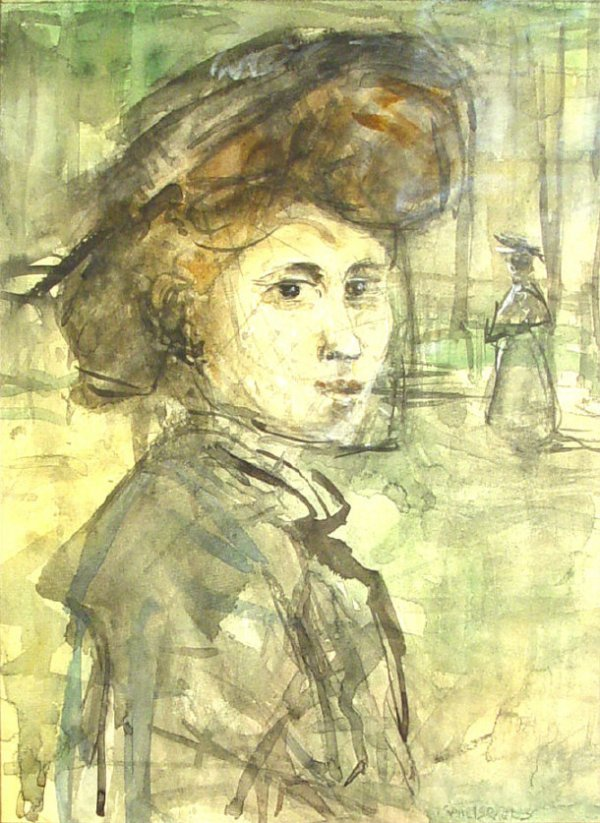 807: Isaac Israels - Watercolour portrait of a woman, p