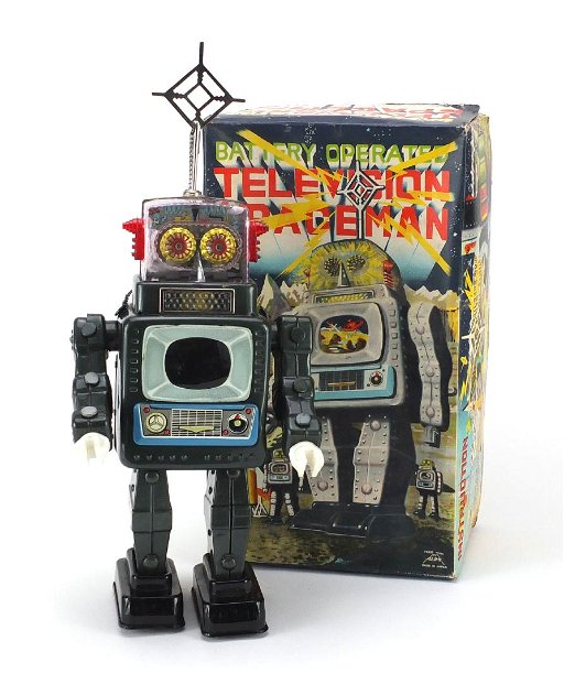 Japanese tin plate television spaceman robot, Battery - Jan 10, 2019