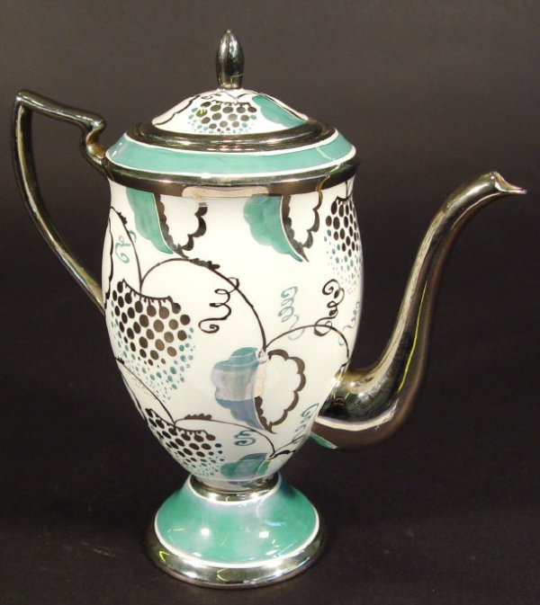 1204: Grays Art Deco bone china teapot decorated with g