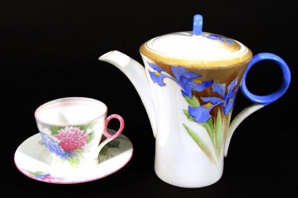 1206: Shelley Art Deco bone china coffee pot, teacup an