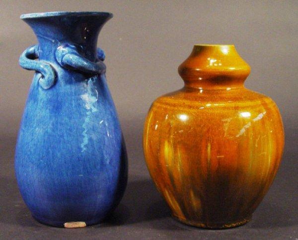 1210: Christopher Dresser style Art Pottery vase togeth