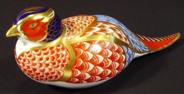1211: Royal Crown Derby bone china pheasant paperweight