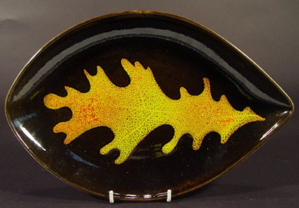 1212: Poole Pottery Aegean oval dish decorated with an