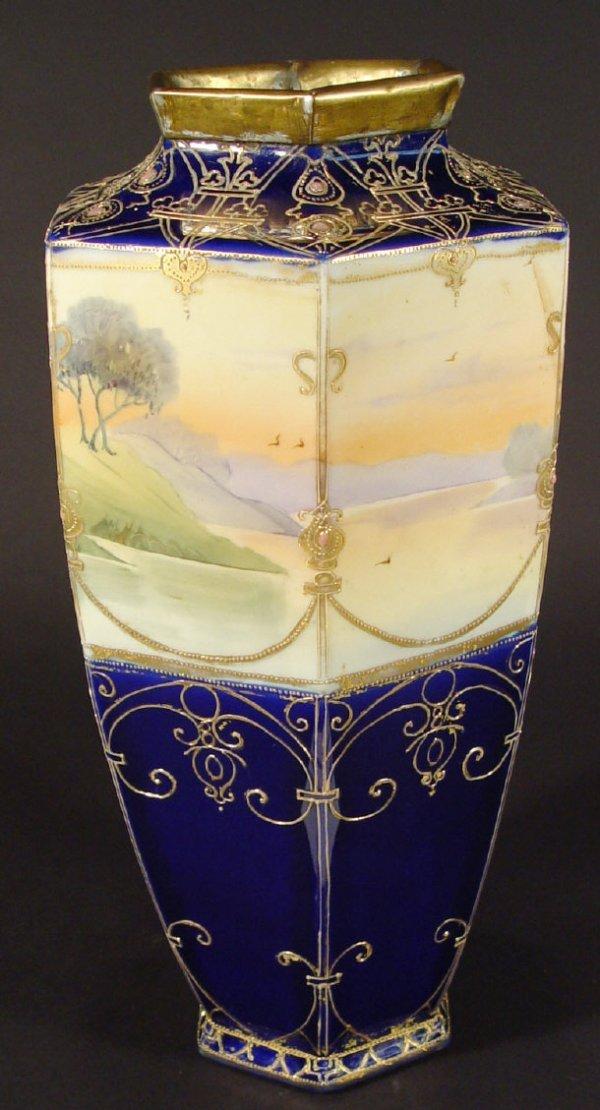 1213: Large Noritake hexagonal porcelain vase painted w