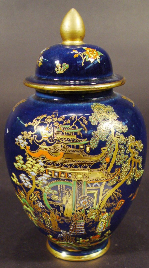 1214: Carltonware ginger jar and cover, enamelled and g