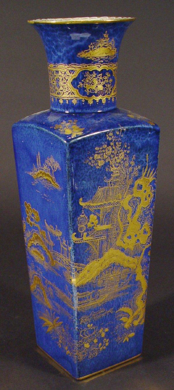 1215: 1930s Wilton chinoiserie blue ground vase with gi