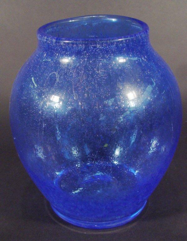 1218: Blue Art Glass vase with internal air bubbles, 20