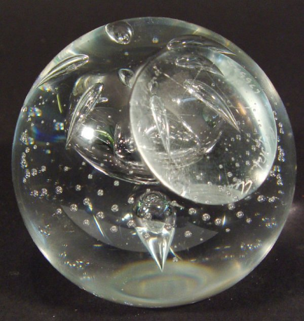 1223: Caithness clear crystal glass paperweight with in