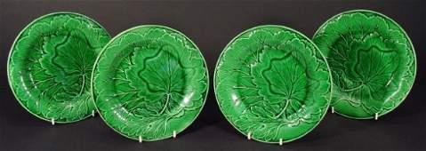 1280 Four Victorian Majolica green leaf plates each 2