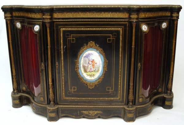 1: Victorian ebonised credenza with brass mounts and fl