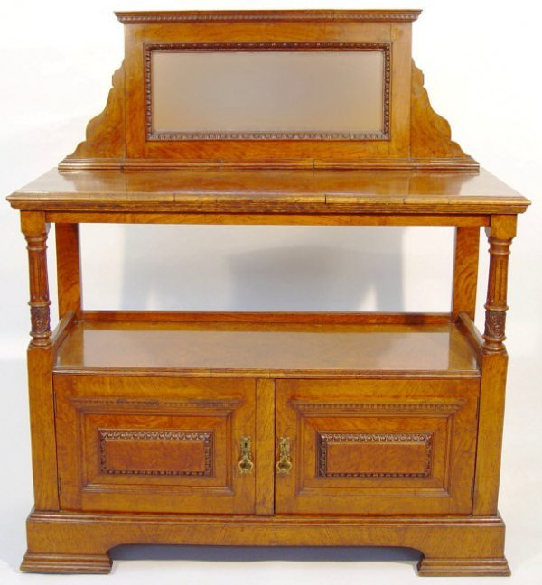 2: Victorian burr walnut buffet, the bevel edged mirror