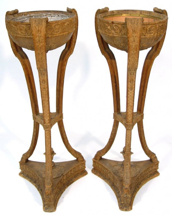 3: Pair of pine plant stands, the bowls and sabre leg s