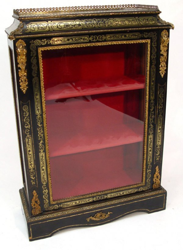 4: Victorian ebonised pier cabinet with brass inlay, th