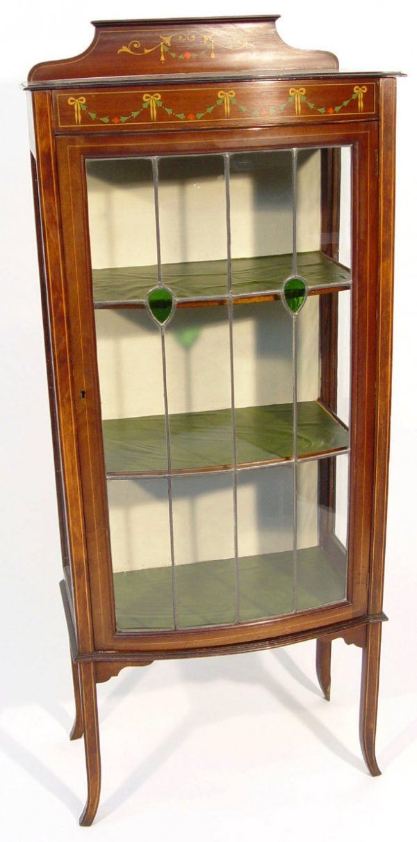 9: Edwardian mahogany bow-fronted china cabinet with in