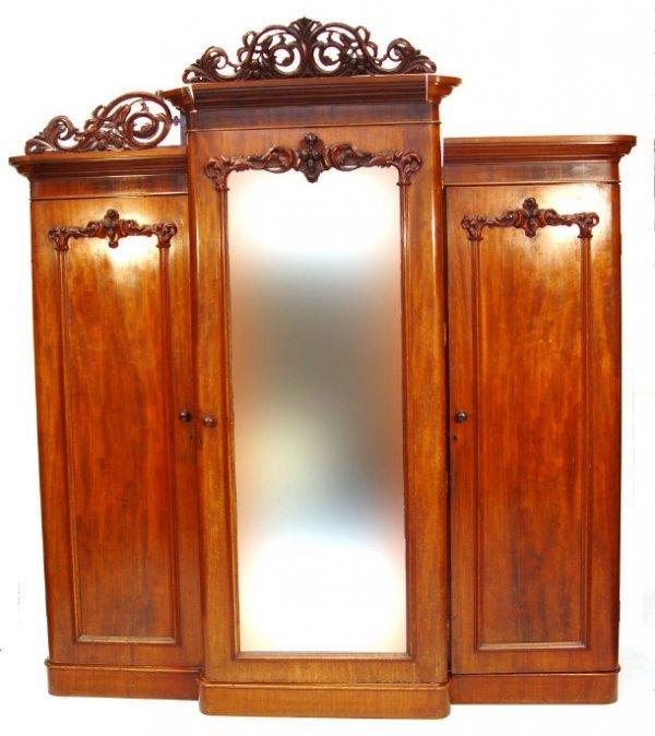 12: Victorian mahogany breakfront wardrobe, the moulded