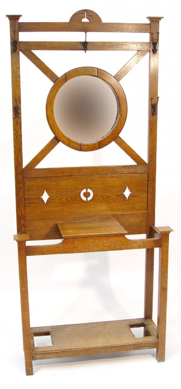 18: Art Nouveau oak hallstand, the circular bevel edged