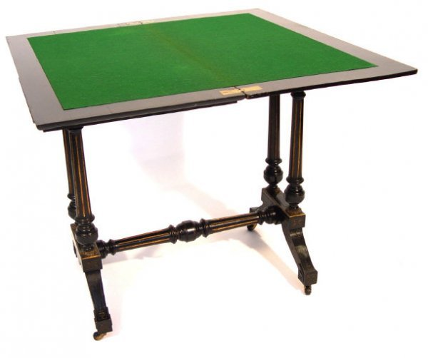 19: Victorian ebonised card table, the fold-over swivel