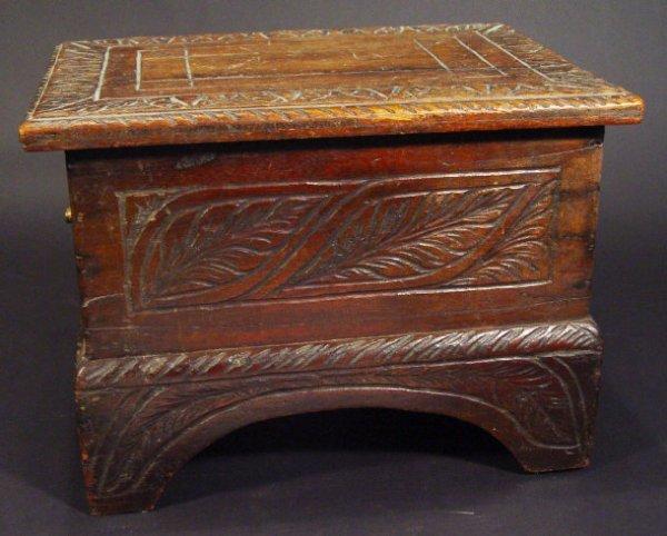 22: Victorian oak rectangular bible box with leaf carve