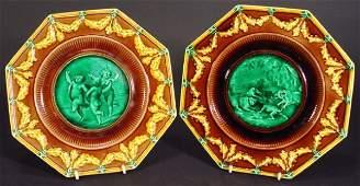 120 Pair of Victorian Wedgwood Majolica octagonal plat