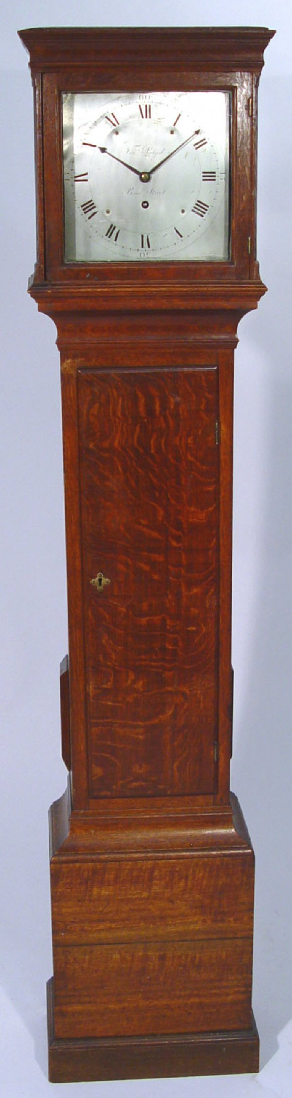 906: 19th century oak long case clock with 31 hour move
